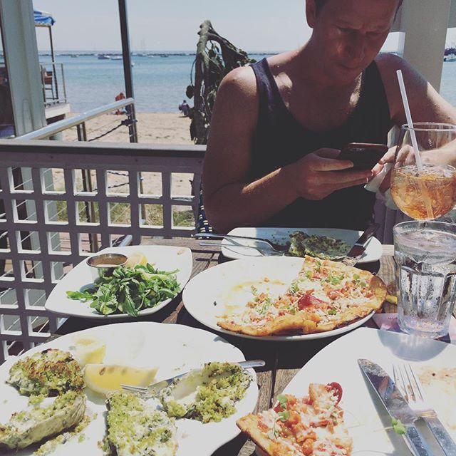 Oysters Rockefeller, lobster pizza & an Aperol Spritzah...yay! #provincetown #ptown #aperolspritz #kelleyhouse #capecod