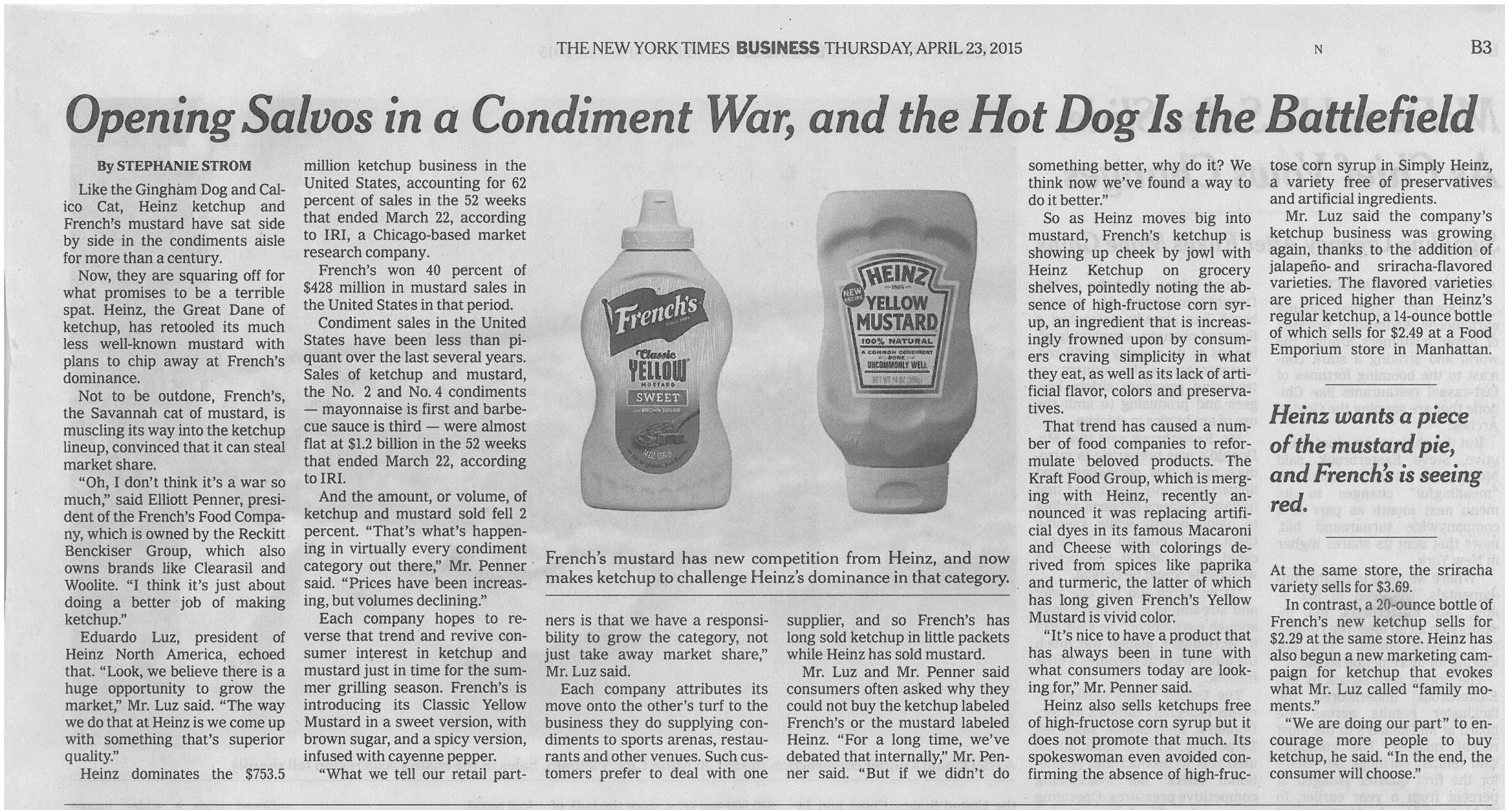 New York Times- Thursday, April 23, 2015