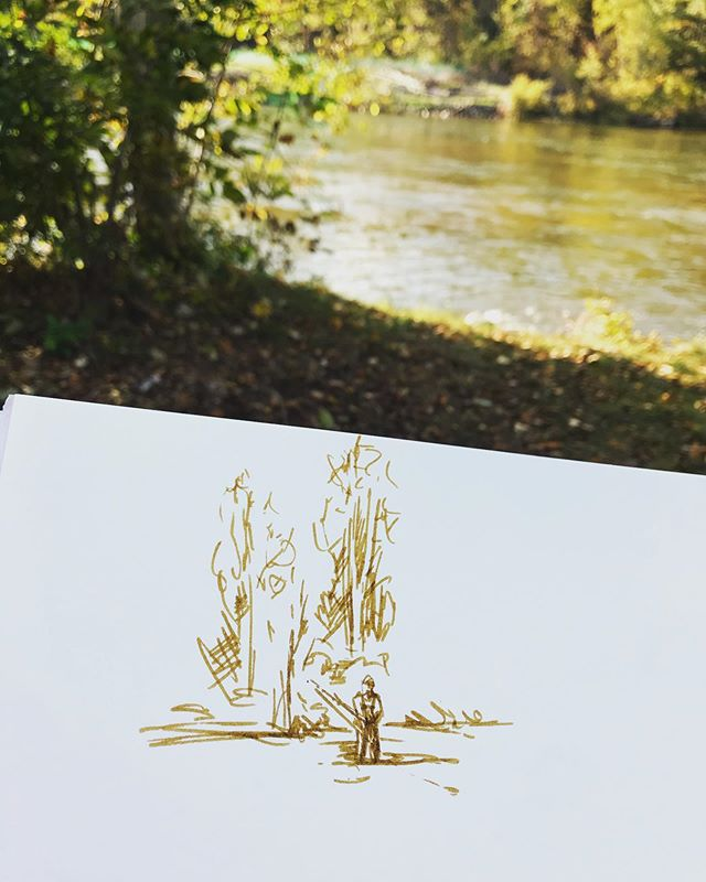 Sketching by the river today. We went on a spontaneous trip up north and it's been so beautiful! #falltime #upnorth #sketching #fineart #art #painting