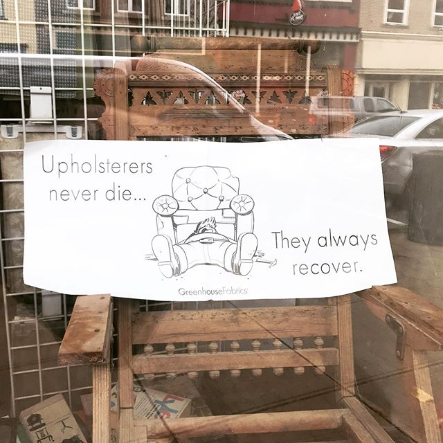 Saw this in a furniture Shoppe window in downtown Manistee 😂😂 #funny #furniture #upholstery