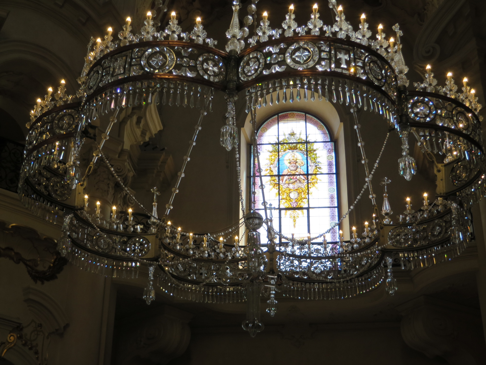 chandelier and altar window, st. nicholas church, prague