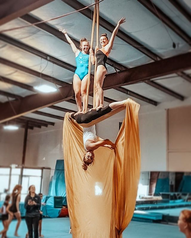 Northpointe Circus 🎪  Come play with us! Classes available for youth and adults. #circusisintown #northpointegymnastics #aerialsilks