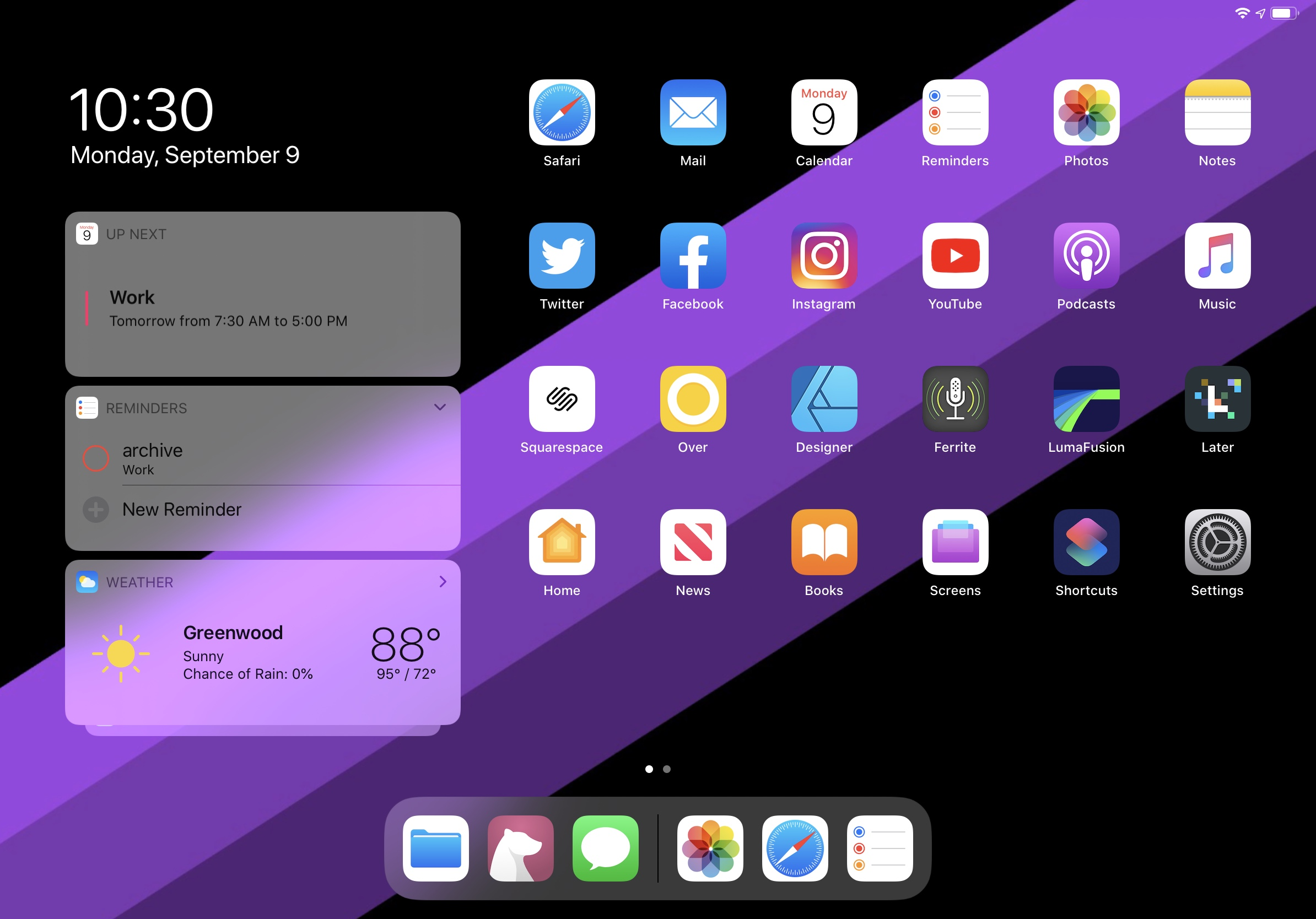My iPad home screen with iPadOS 13.