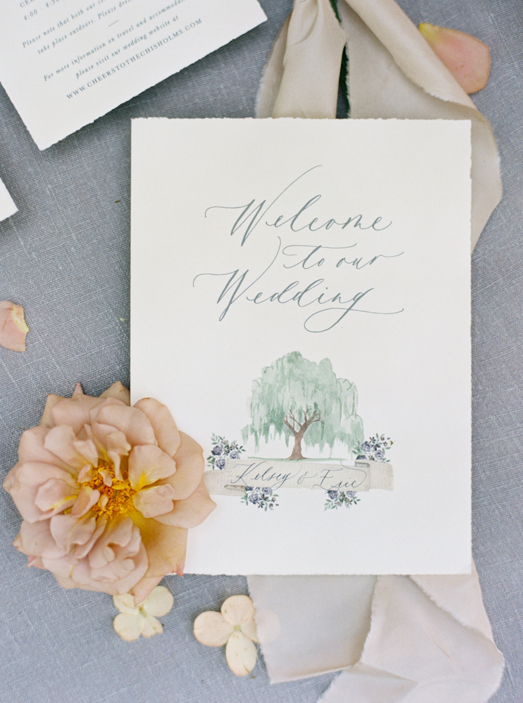 Custom wedding program with calligraphy and watercolor.