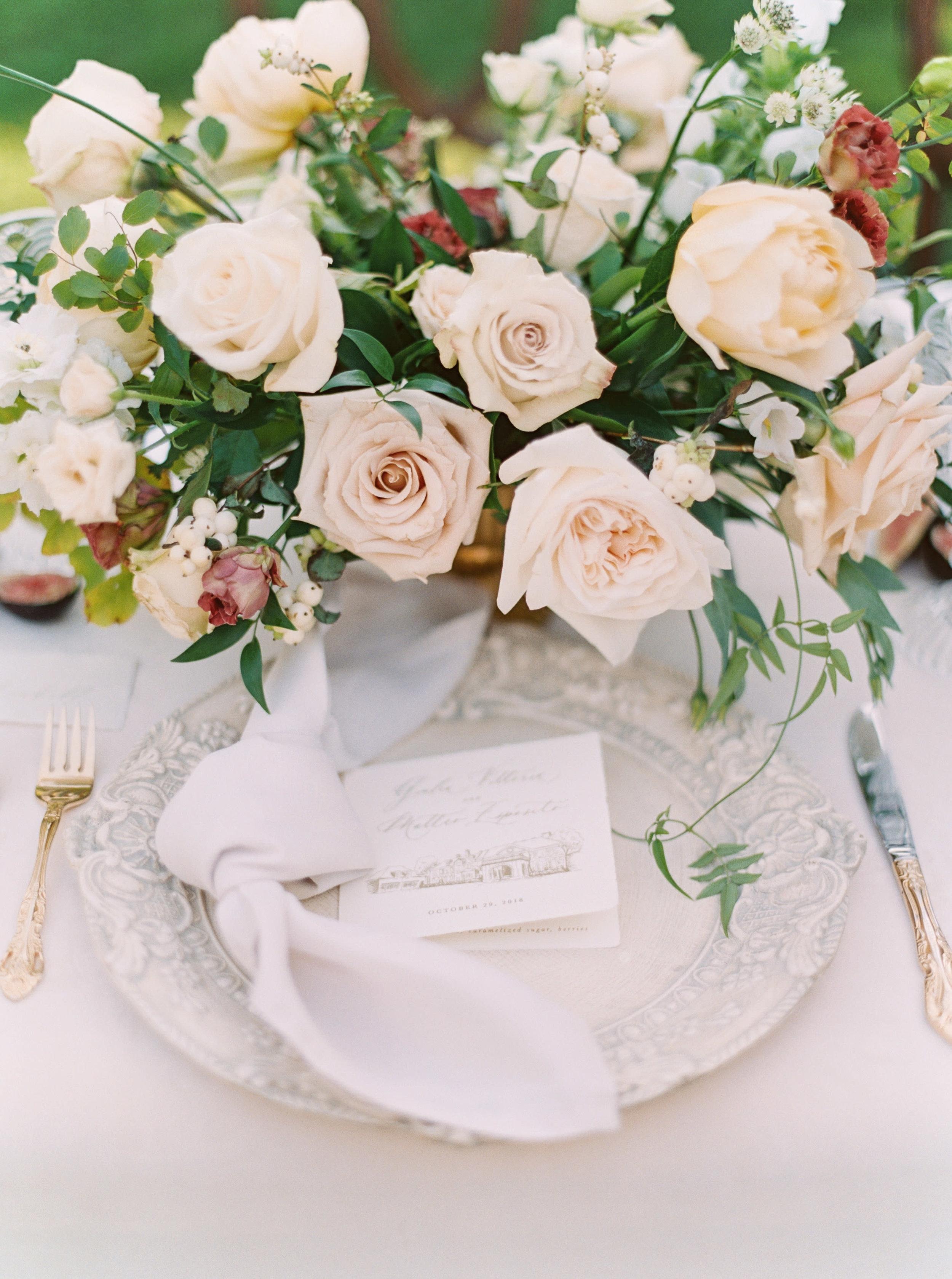 Wedding menu with custom venue illustration.
