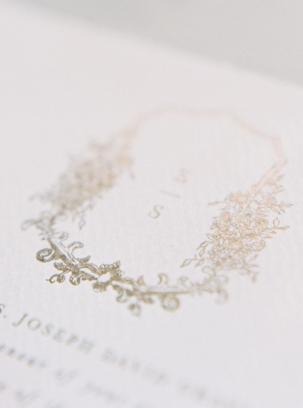 Foil printing example for semi-custom wedding invitations.