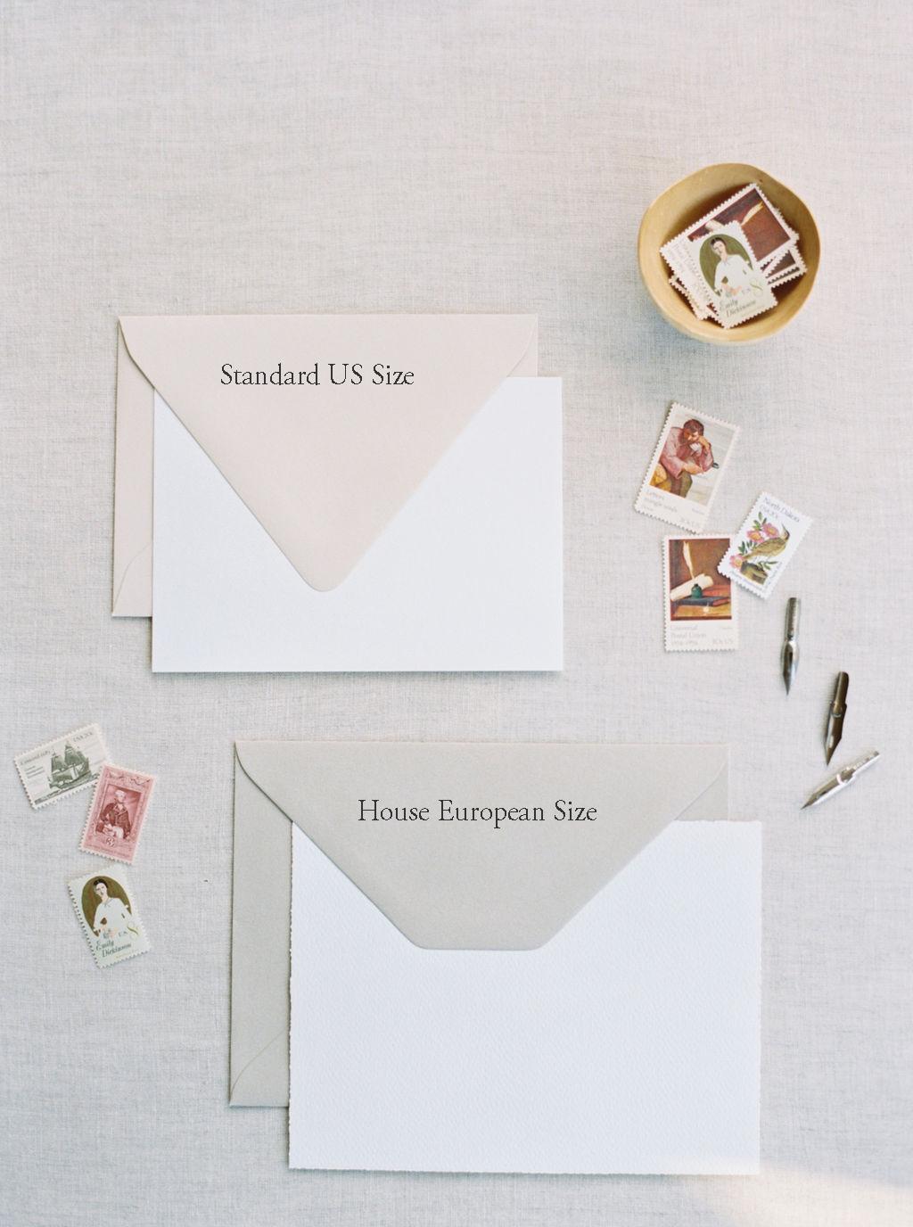 Envelope sizes for semi-custom invitation suites.