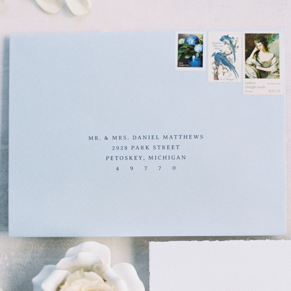 Printed guest addresses for weddings.