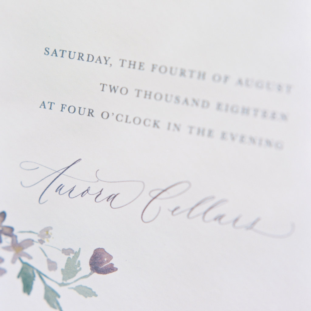 Flat printing example for wedding invitations.