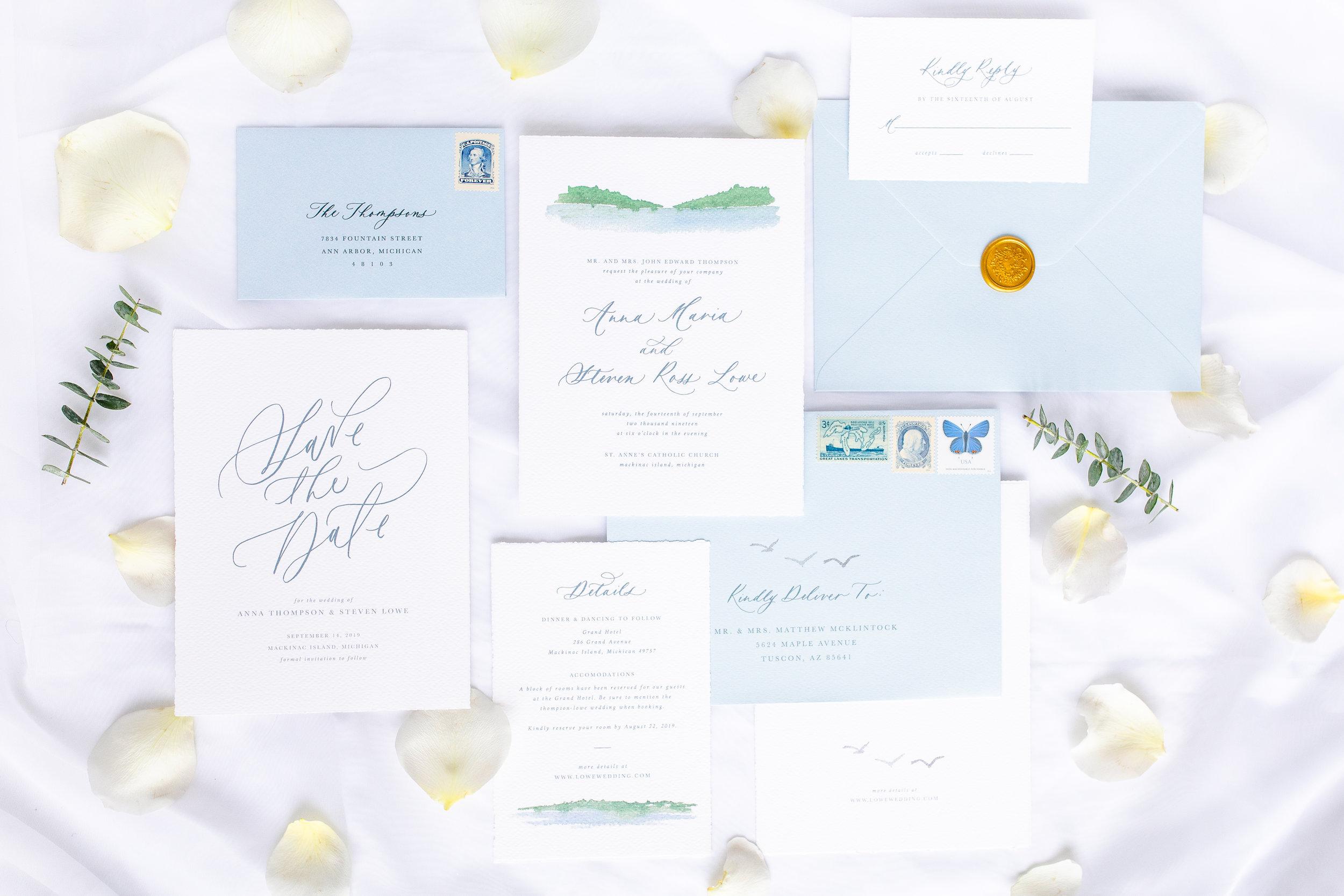 Fine Art Destination Wedding Invitations Watercolor