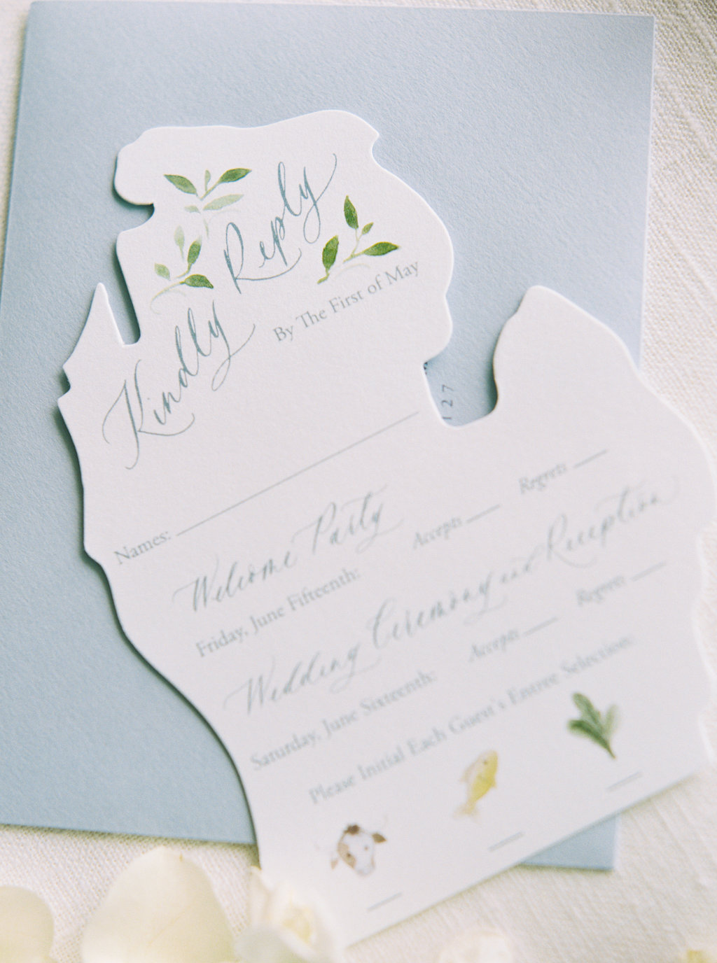 Watercolor wedding RSVP card. Die cut in the shape of Michigan.