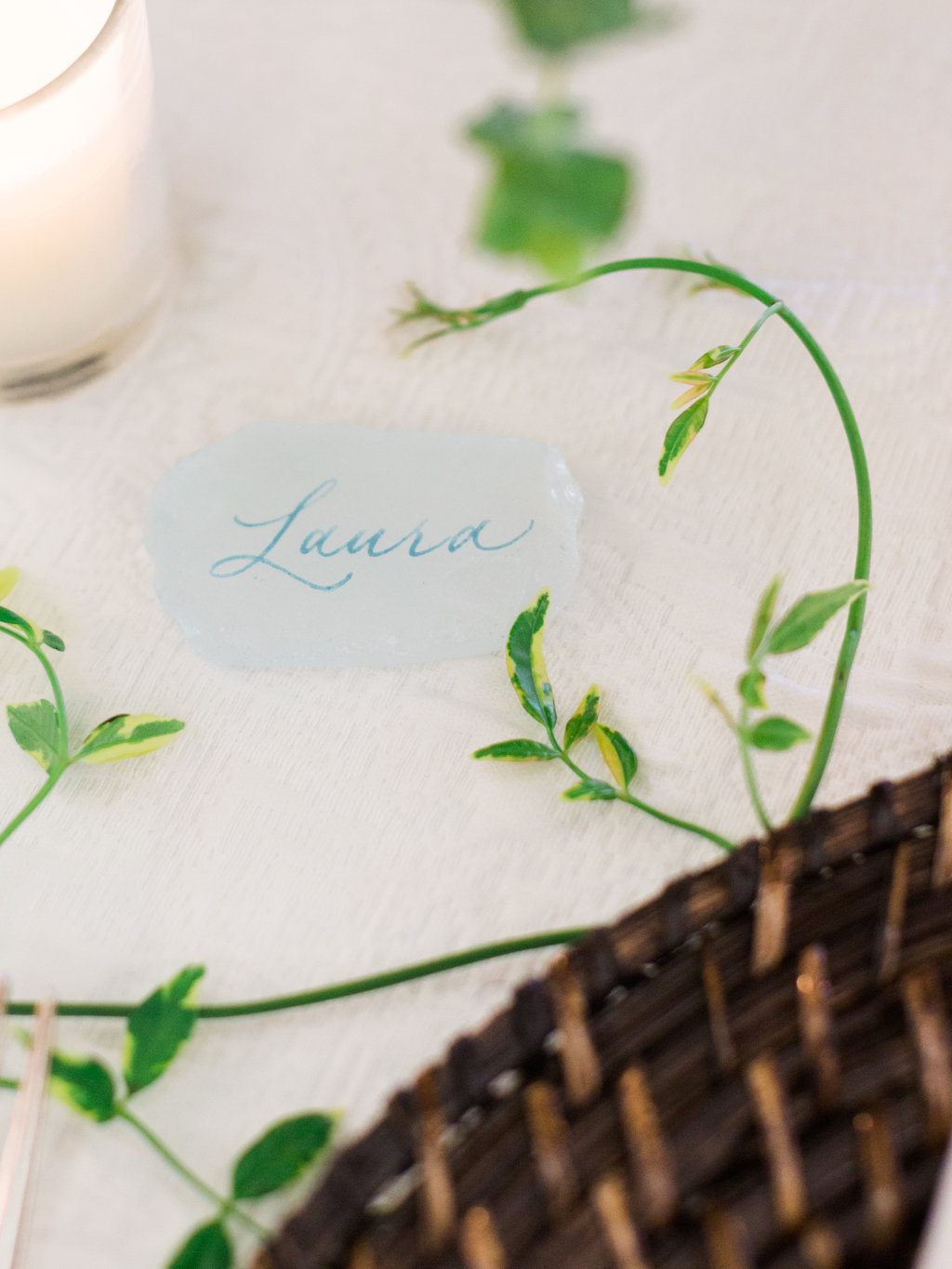 Beach glass place card or escort card with calligraphy.