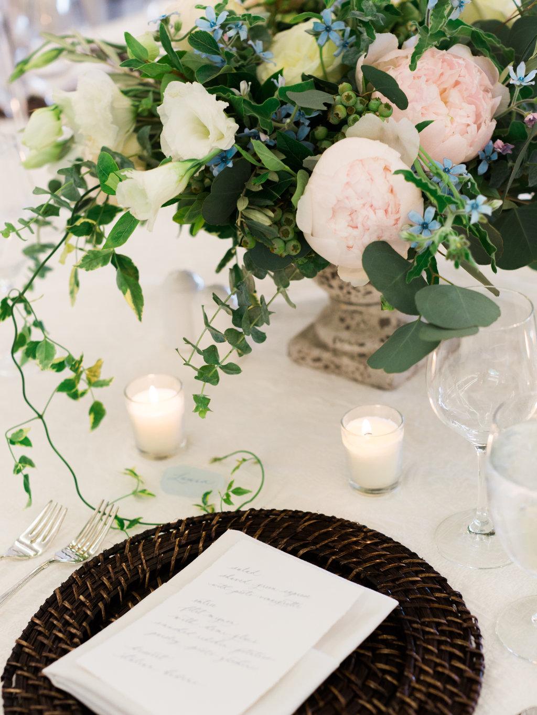 Custom calligraphy dinner menu for a Bay Harbor Yacht Club wedding.