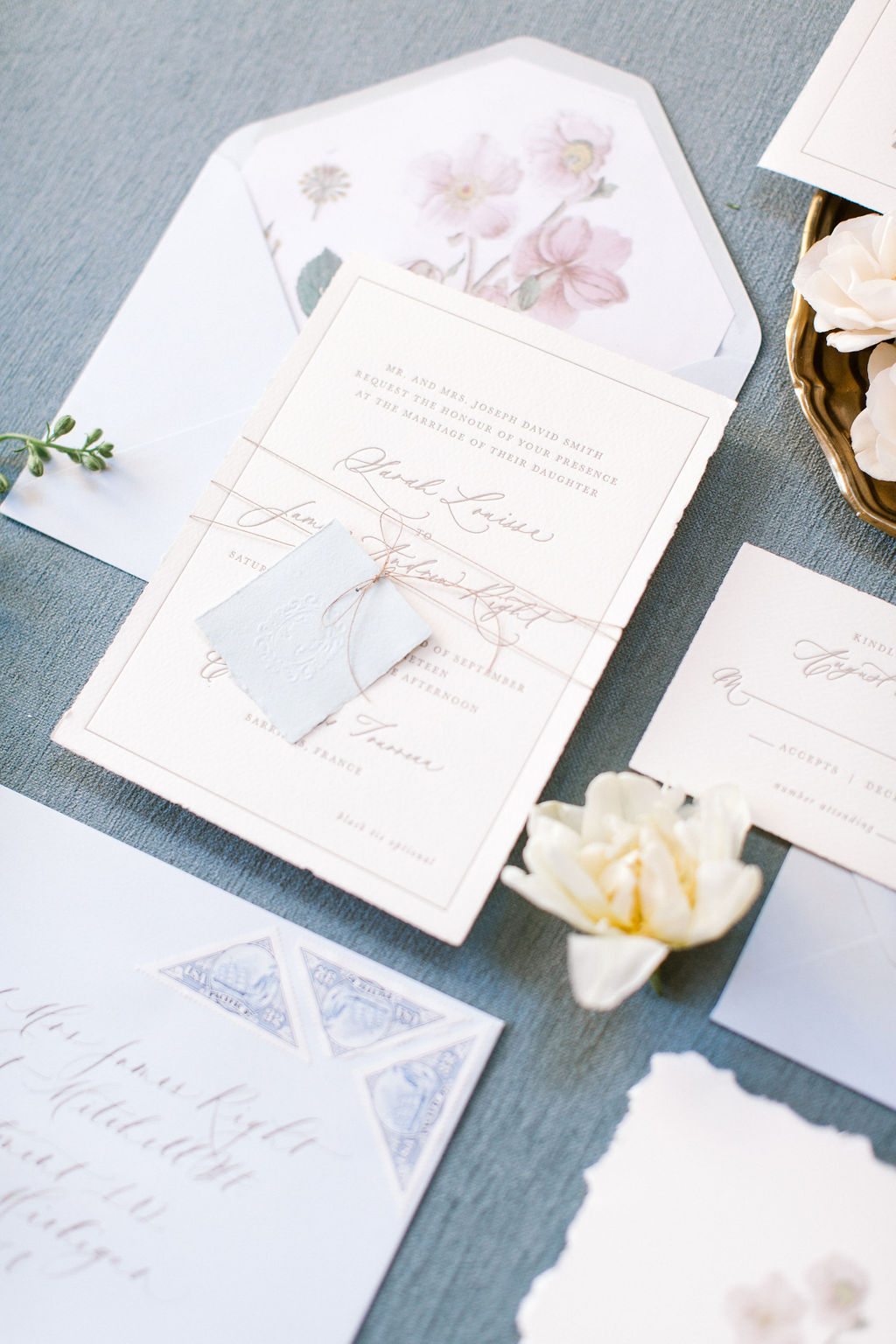 Semi-custom wedding invitations for dusty blue styled shoot.