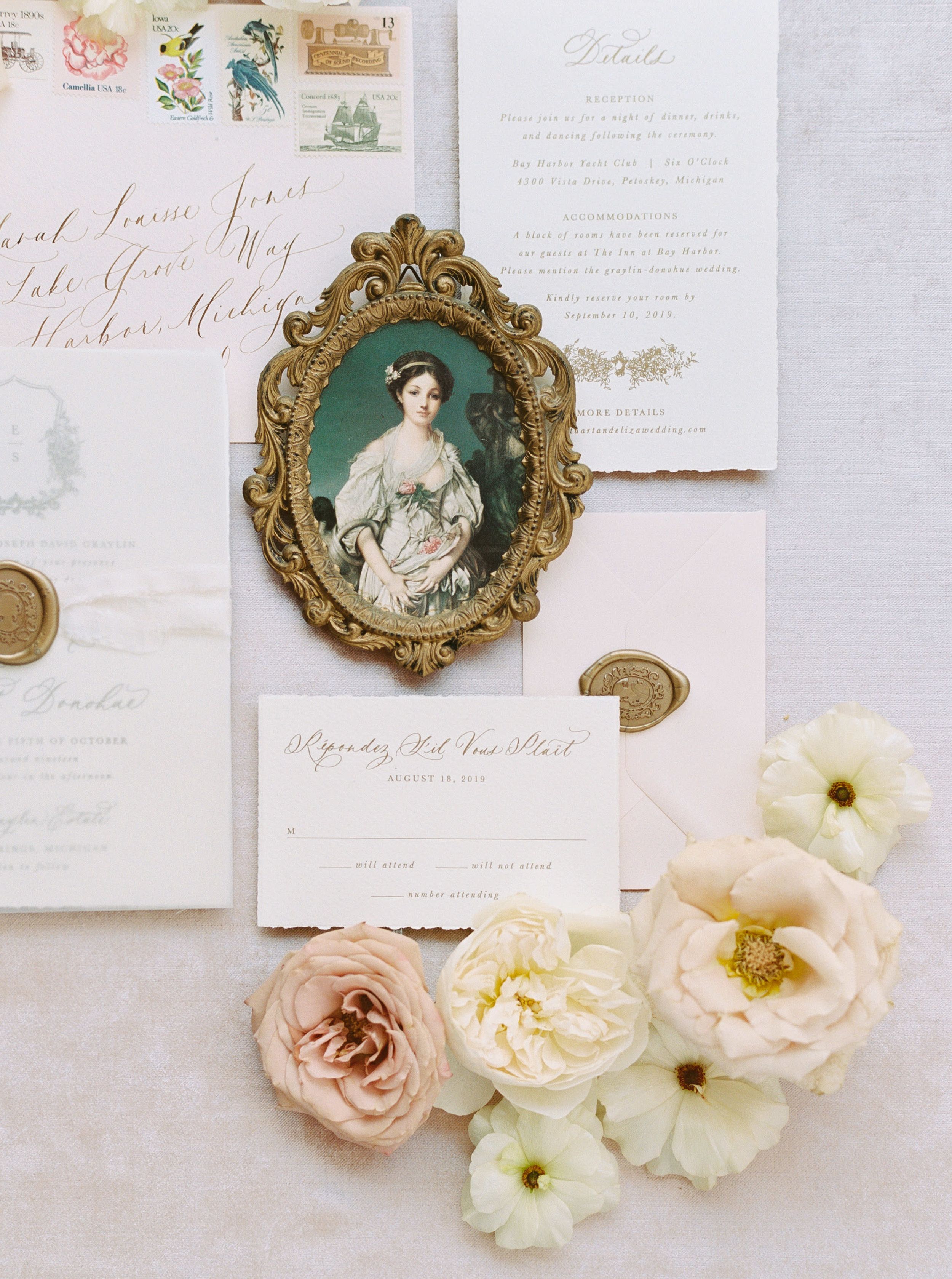 Semi-Custom Invitation Suite. Signature Suite with gold ink and deckled edges. Classic and vintage style with ivory paper and blush envelopes.