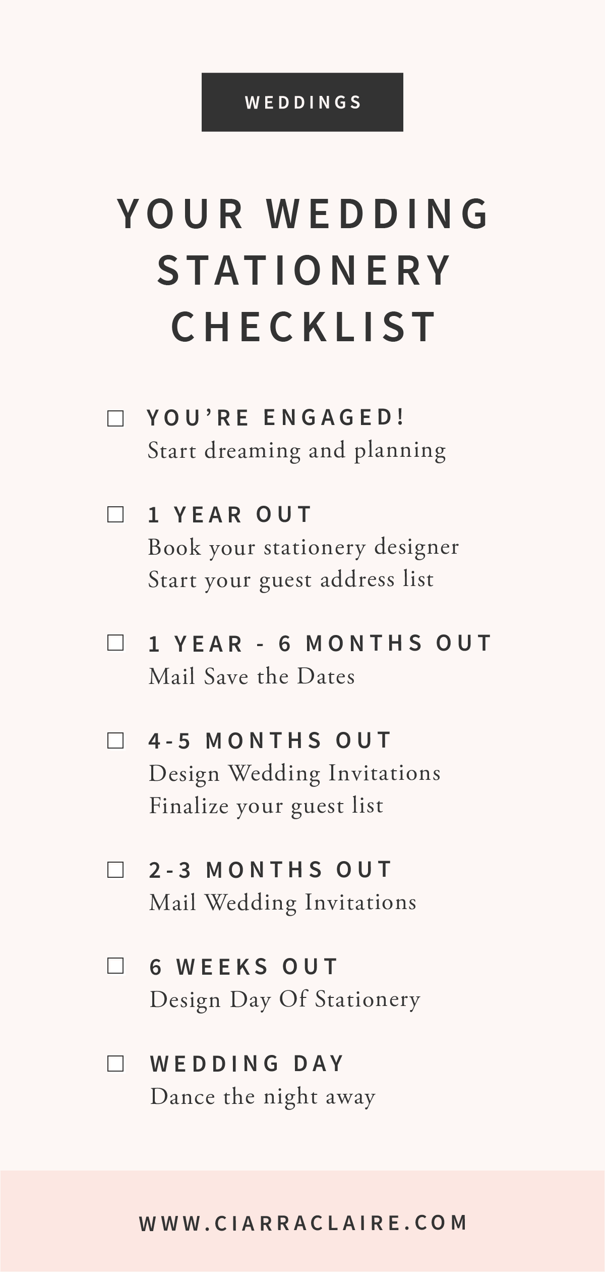 A timeline and checklist guide for your wedding invitations and day of stationery.