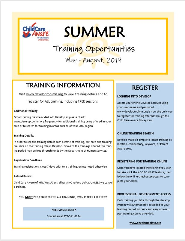 Summer Training Opportunity 2019 — Child Care Aware of MN West