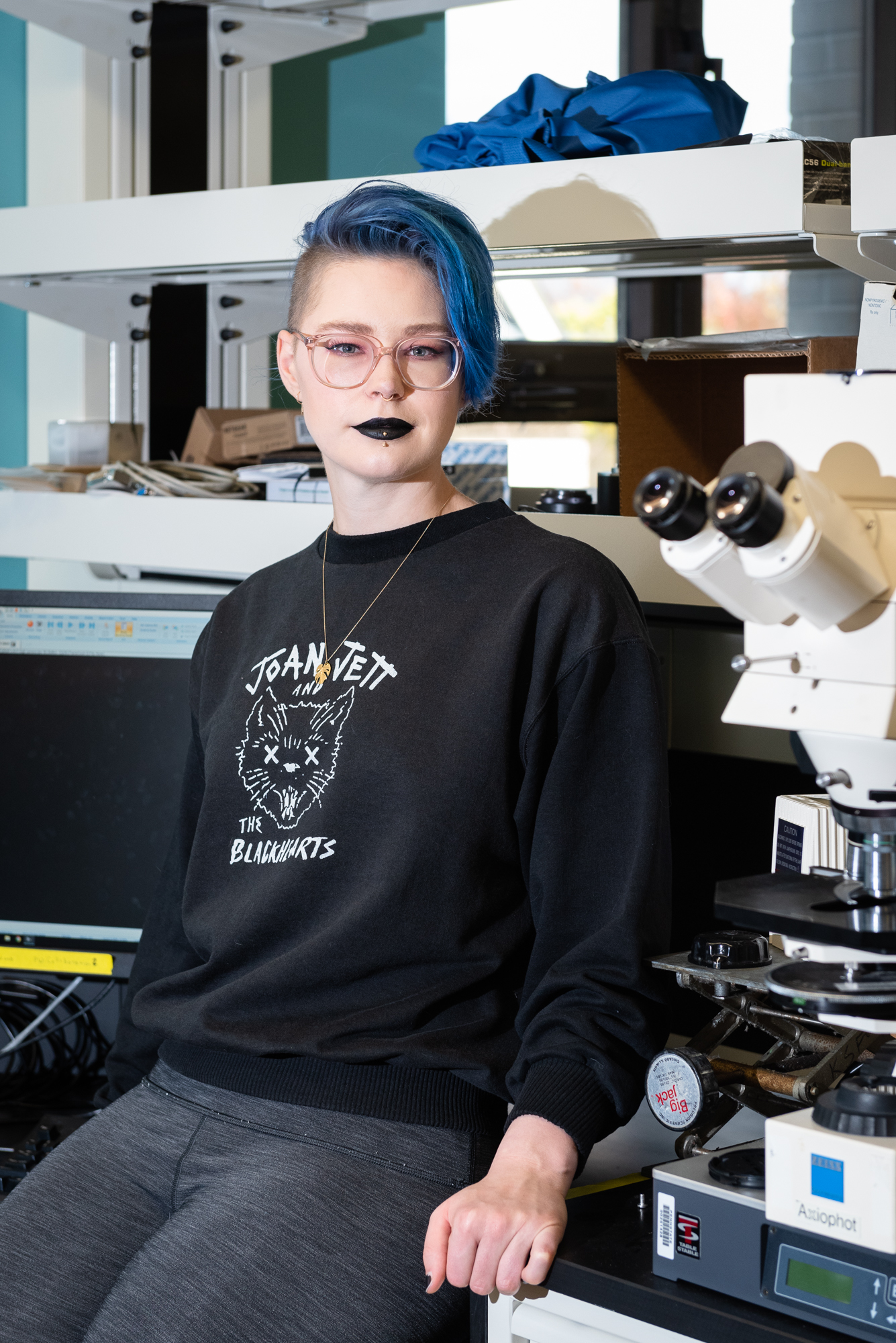 Remmi Baker, PHD Candidate at Penn State University's Material Science department, in her lab.