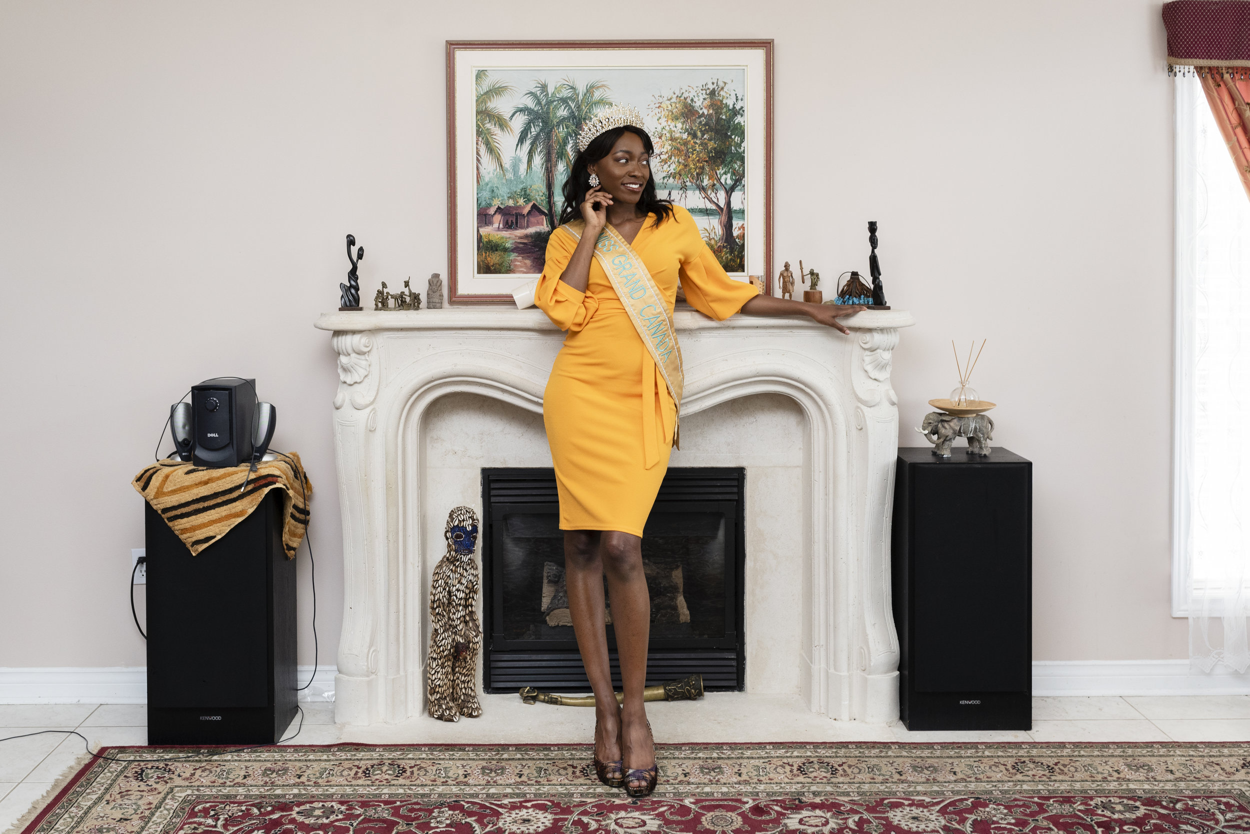 Grace Diamani, 26, is currently living in Ottawa and attending Carleton University for Sociology. She was crowned Miss Grand Canada 2018, and is currently competing in Miss Universe Canada. Taken in her childhood home, Whitby, Ontario, on July 27, 2019.