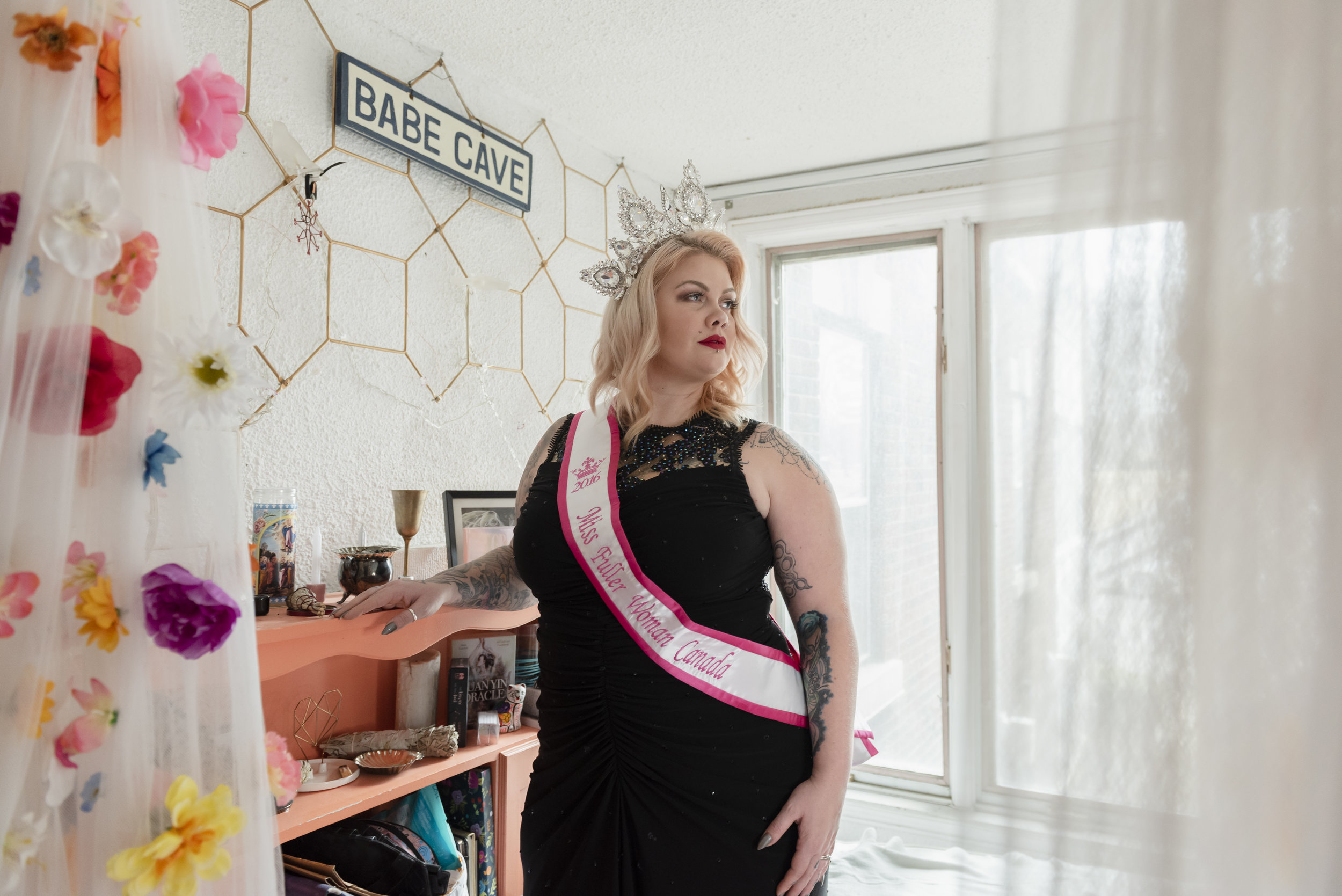 Vanessa Nash-Gale is a 39 year-old sewing and leathercraft teacher from Newfoundland. She was the winner of Miss Fuller Woman Canada in 2016. Shot in Vanessa's home in Toronto, April 6, 2019.