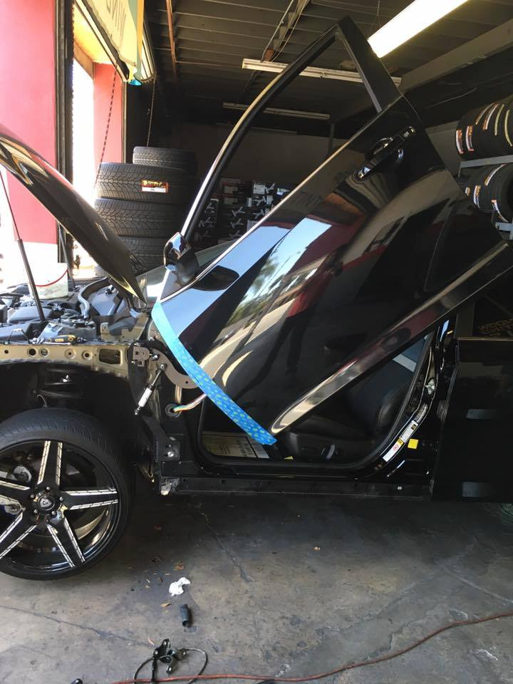 Lambo Doors and Tinted Windows at Audiosport
