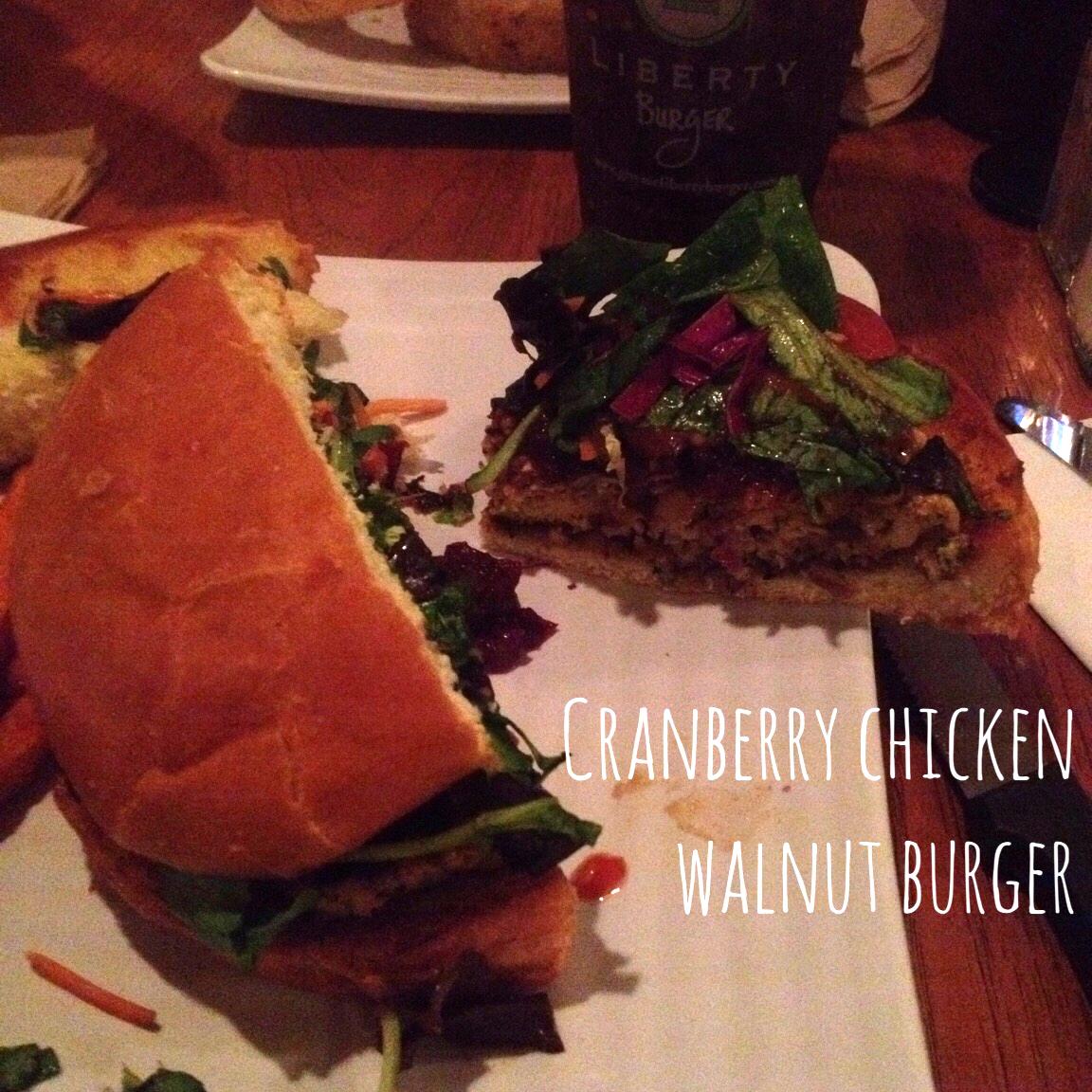Cranberry chicken walnut burger from Liberty burger