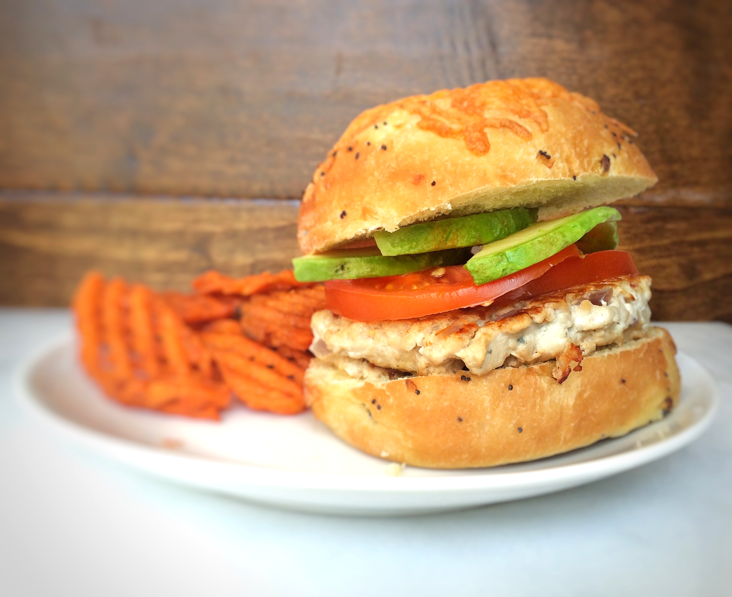 Ranch turkey burgers made with cottage cheese, red onion, and ranch seasoning