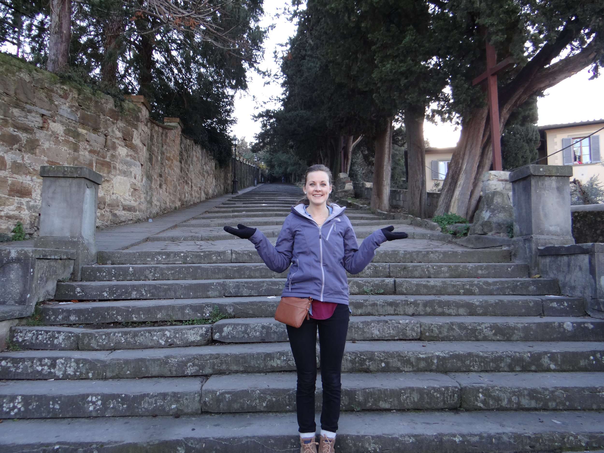 The steps up to the Piazzale Michaelangelo, a lookout spot for Florence.