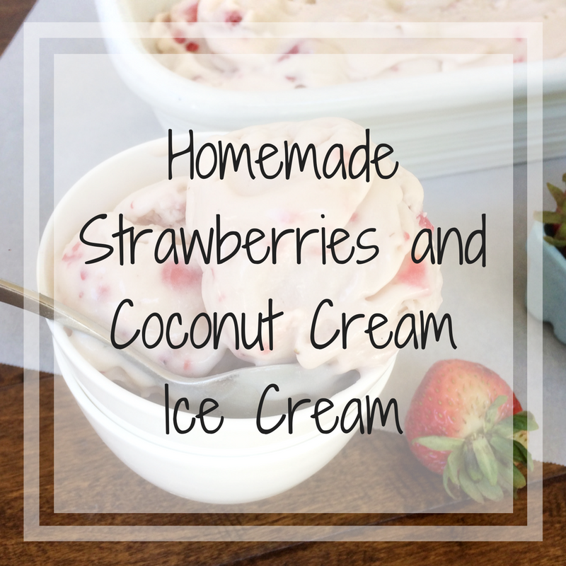 Strawberries and coconut cream homemade ice cream