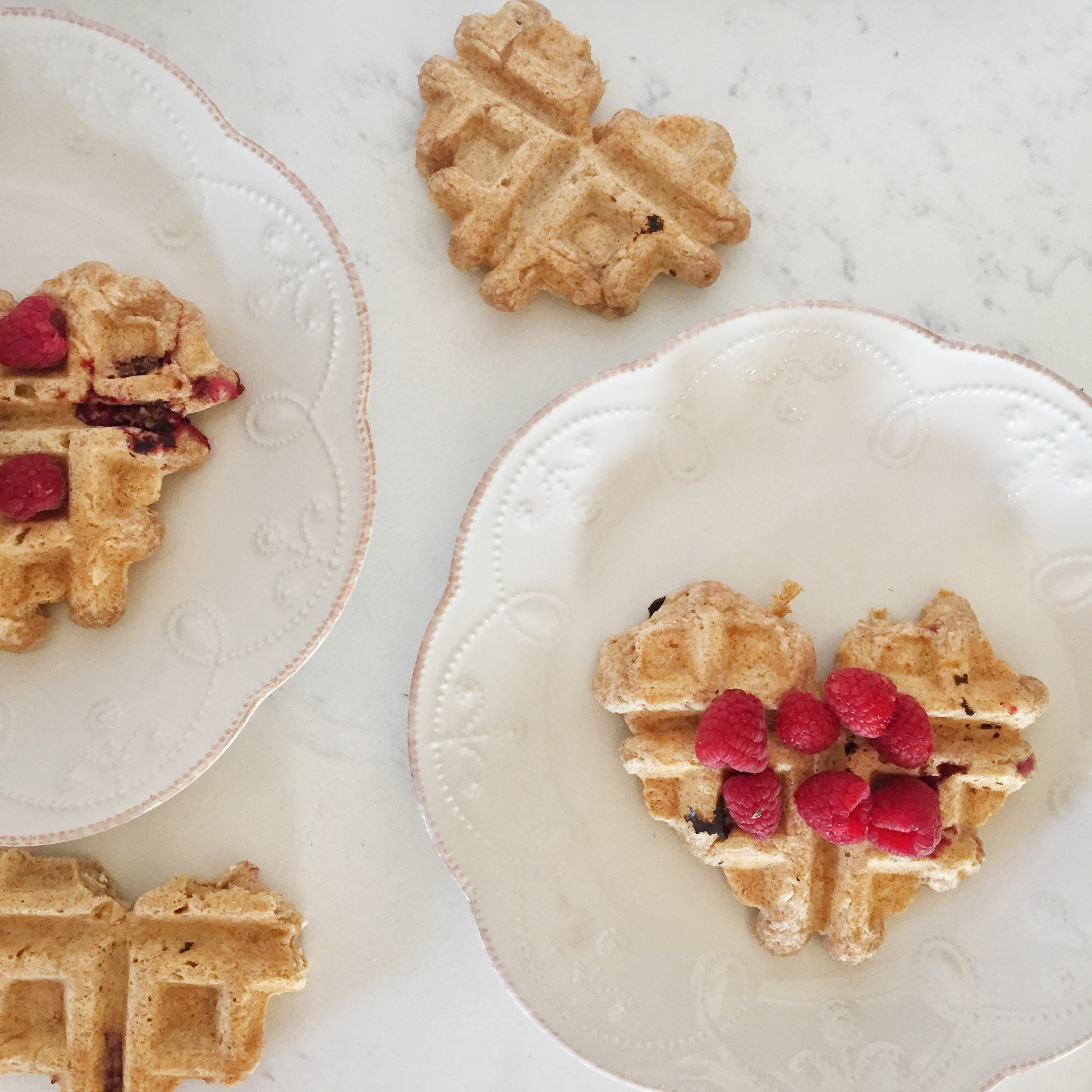 Galentine's brunch ideas--spelt waffles and chocolate cherry smoothies