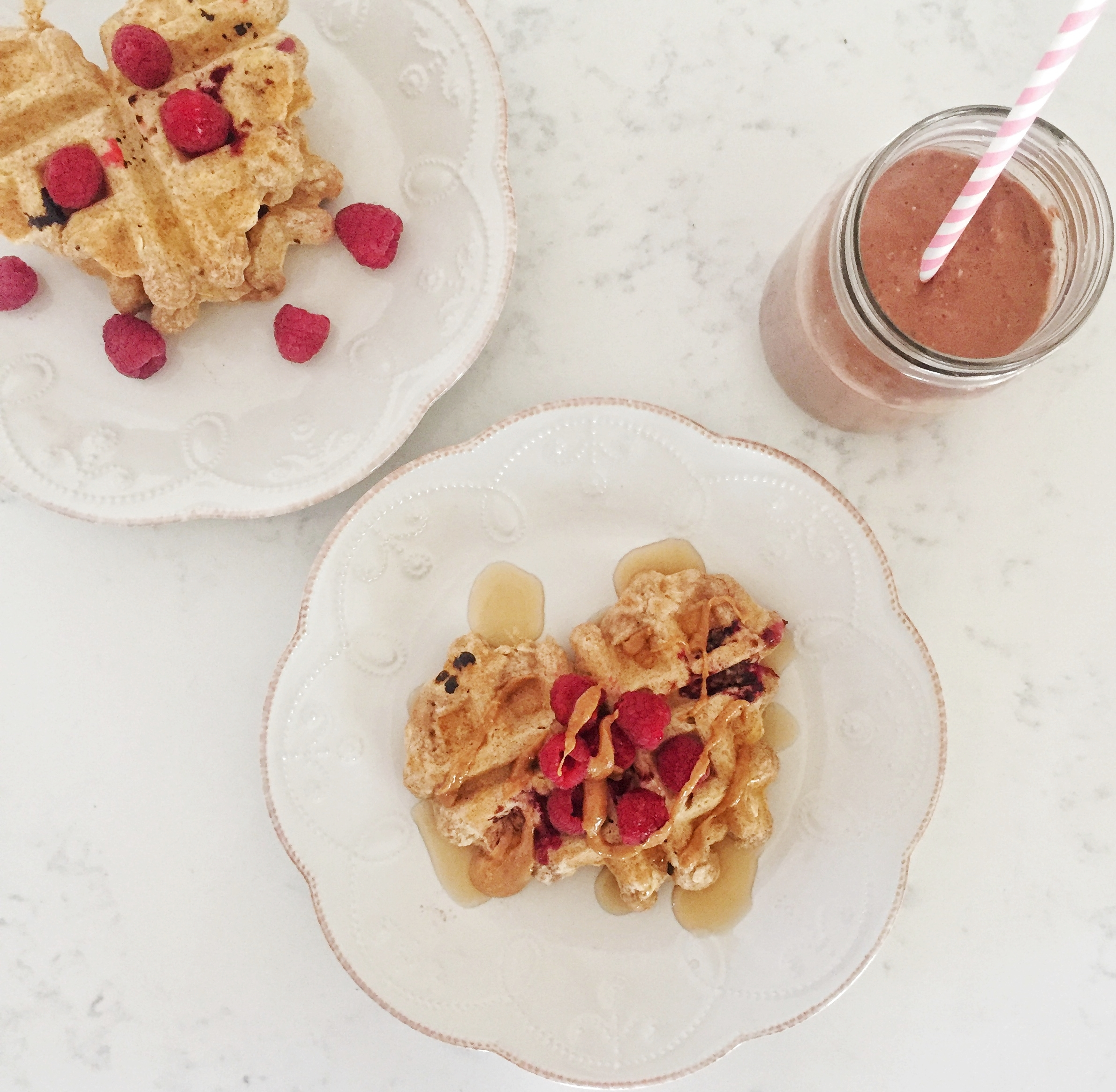 Spelt orange and raspberry waffles for your galentine's day brunch