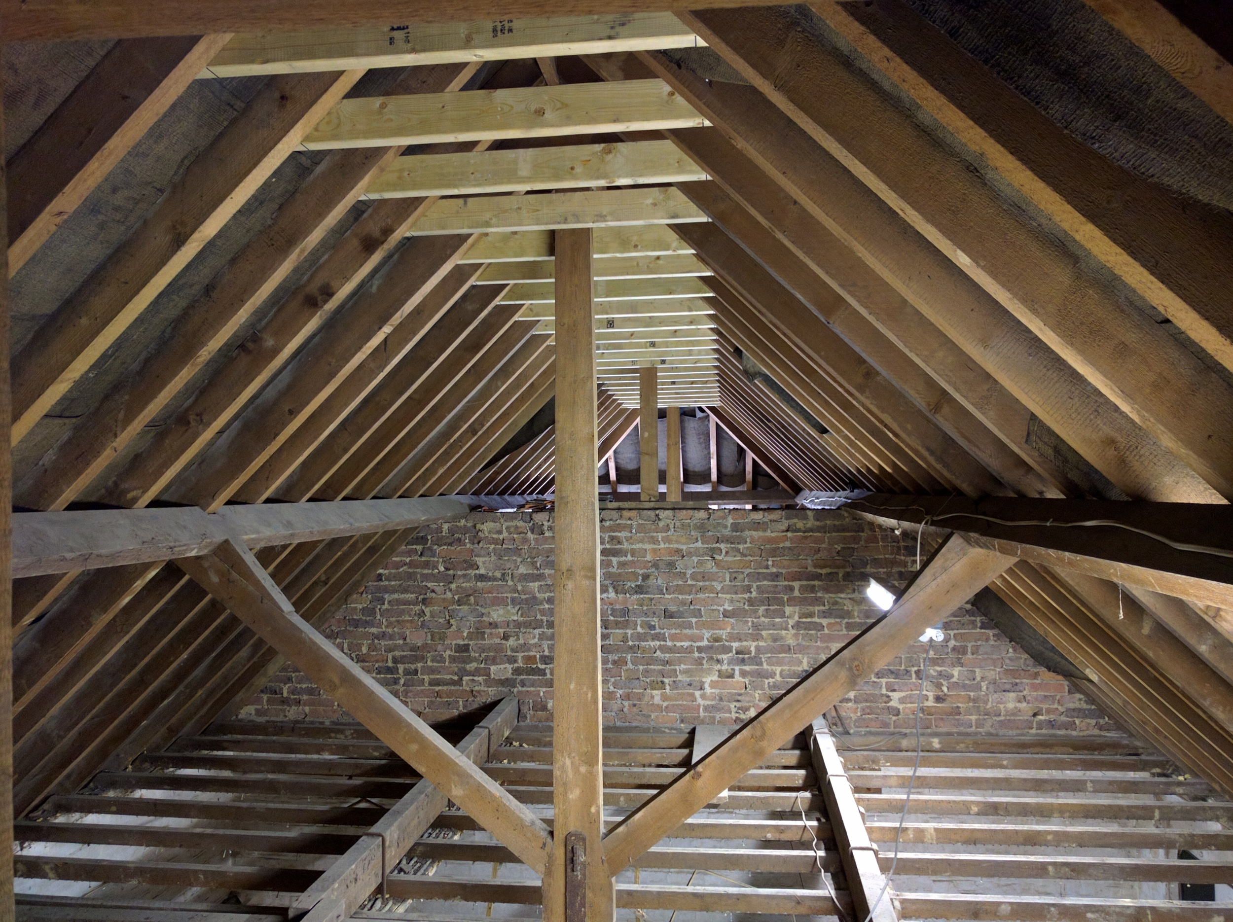 One bat survey, asbestos survey, structural survey later, out comes the ceiling and in go some collar tie beams to stiffen the structure before the ceiling beams come out.
