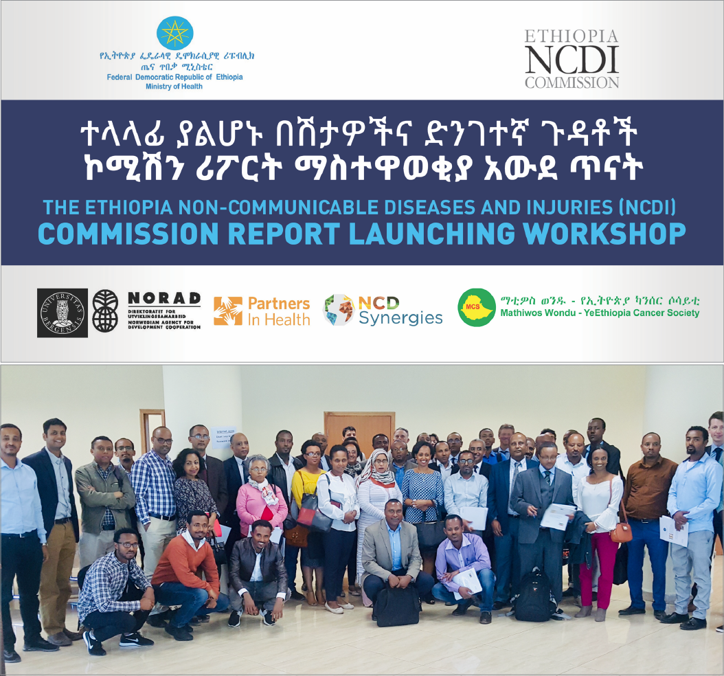 the ethiopia NCDI COMMISSION REPORT WAS LAUNCHED WITH THE PARTICIPATION of HER EXCELLENCY DR. LIA TADESSE, state minister of health (CENTER OF FIRST ROW STANDING), AND STAKEHOLDERS FROM GOVERNMENT MINISTRIES, CIVIL SOCIETY AND PATIENT ADVOCACY ORGANIZATIONS, DEVELOPMENT PARTNERS, AND MEDICAL AND RESEARCH INSTITUTIONS.