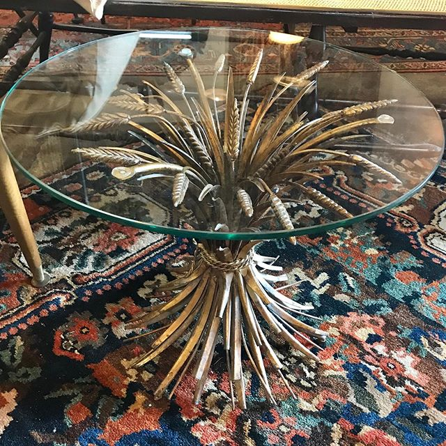 """Add some glam with this Hollywood Regency 1960s """"Sheaf of Wheat"""" cocktail table 21"""" diameter 17"""" height $325"""
