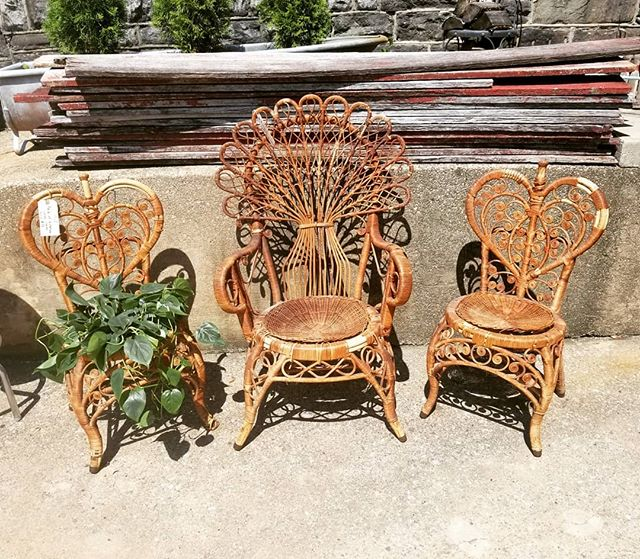 Pair of Fragile Victorian, heartshaped, lovers chairs. ( Upcycled as flower stands) $75  Fragile Victorian Peacock chair waiting to be upcycled. $45  Stop by!