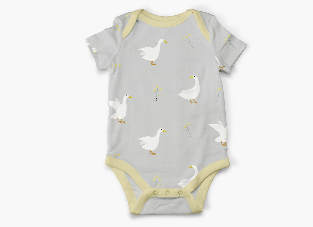 ducks and flowers onesie pattern design