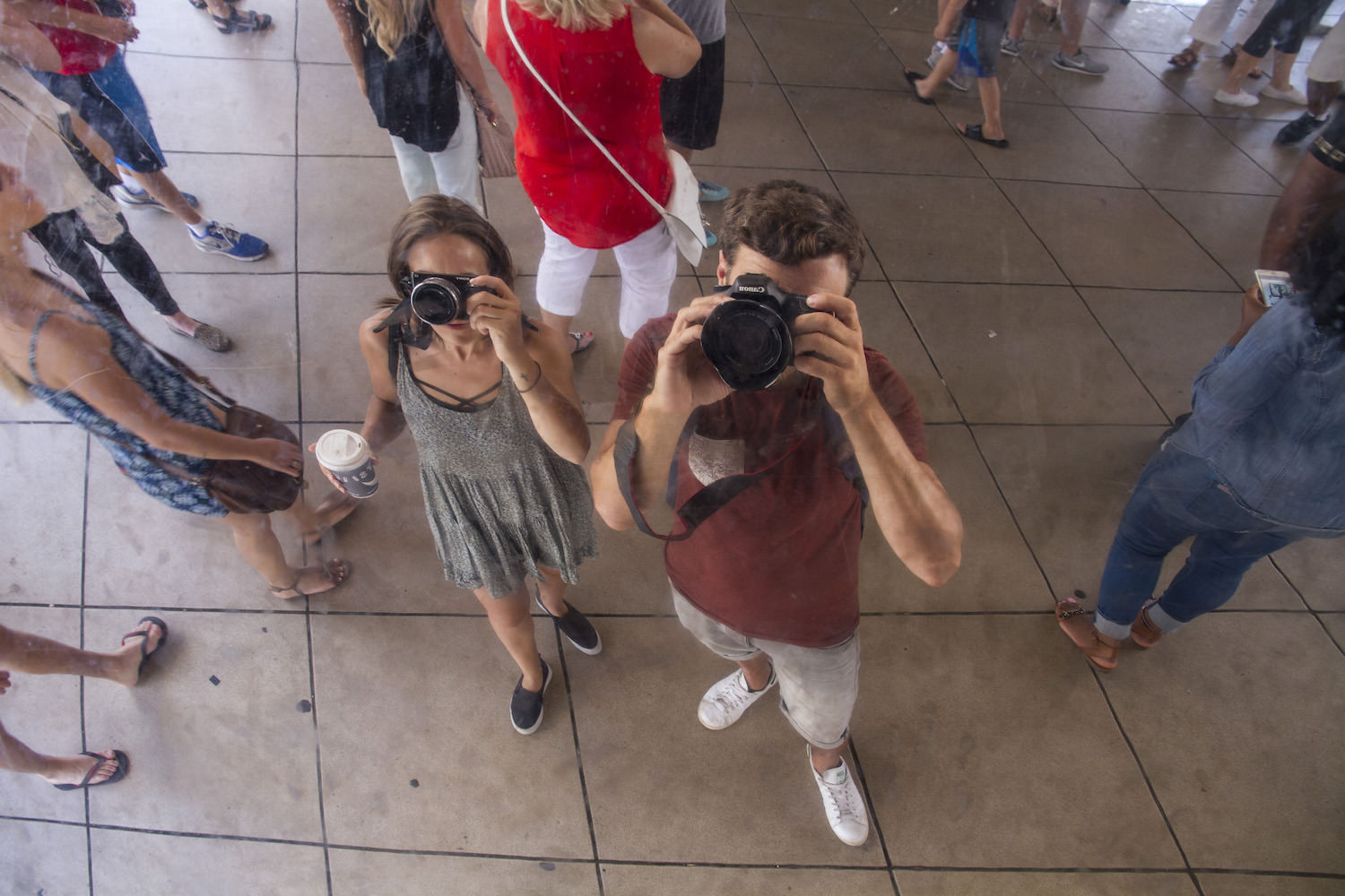 Yours truly! Our reflection under The Bean. Yes, we could have been more creative...