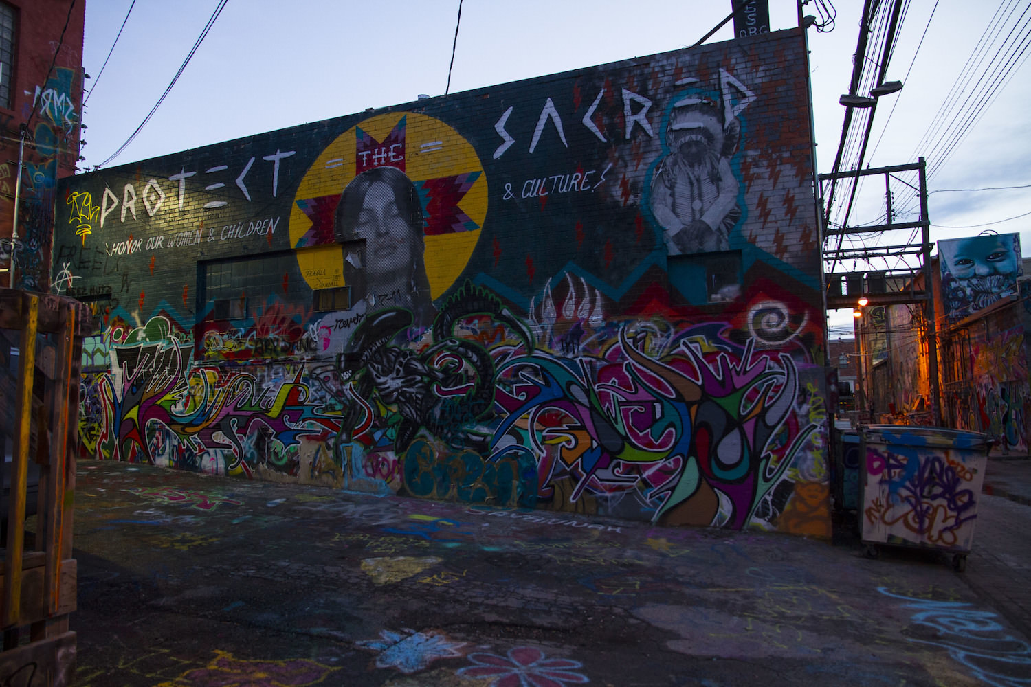 Art Alley covers a variety of themes, several of them seem to be indigeneous.