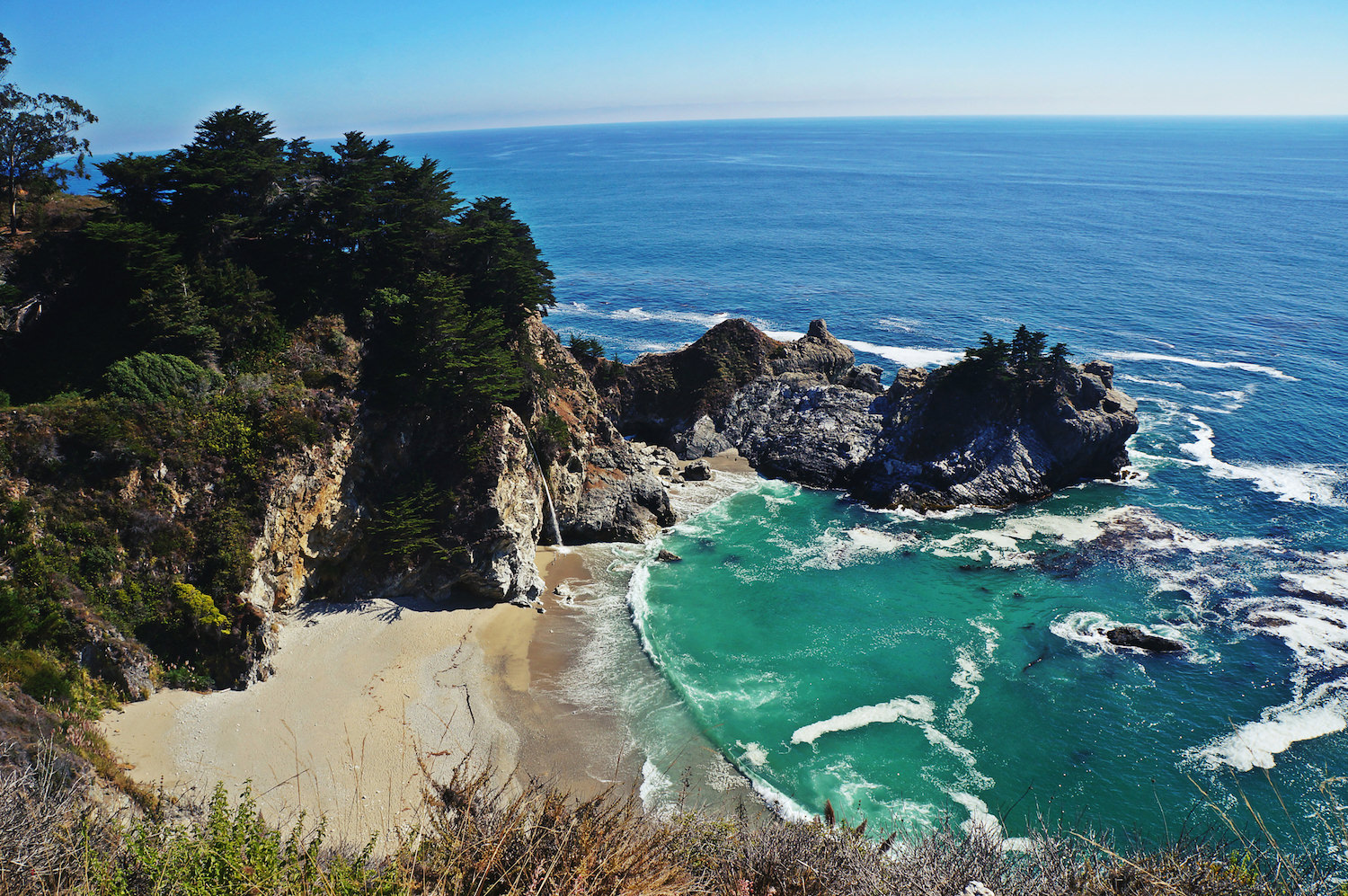 Julia Pfeiffer Burns State Park. Absolutely jaw-dropping. Most of the beaches (like this one)are not accessible. You watch from towering cliffs.