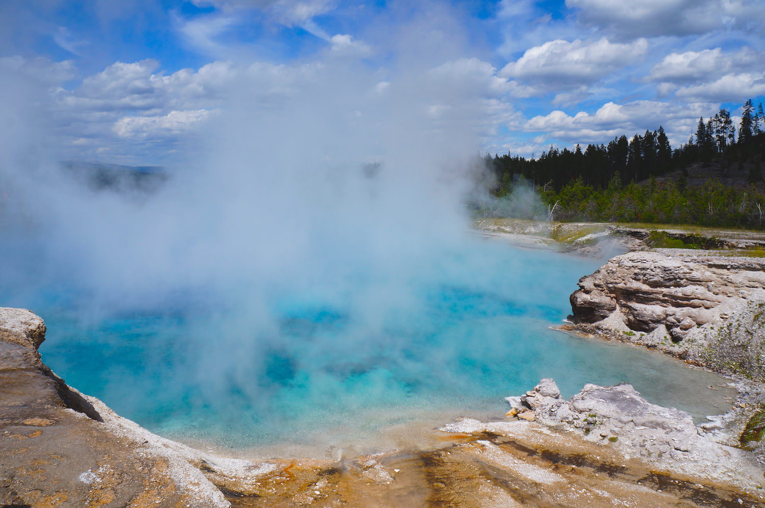Some of the thermal basins surrounding Grand Prismatic Spring.