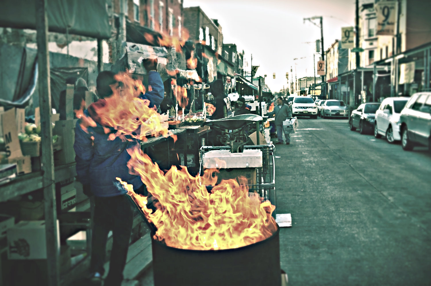 The famous burning garbage cans in the  Italian Market , the oldest outdoor market in the U.S.  Awesome place to stroll and eat.