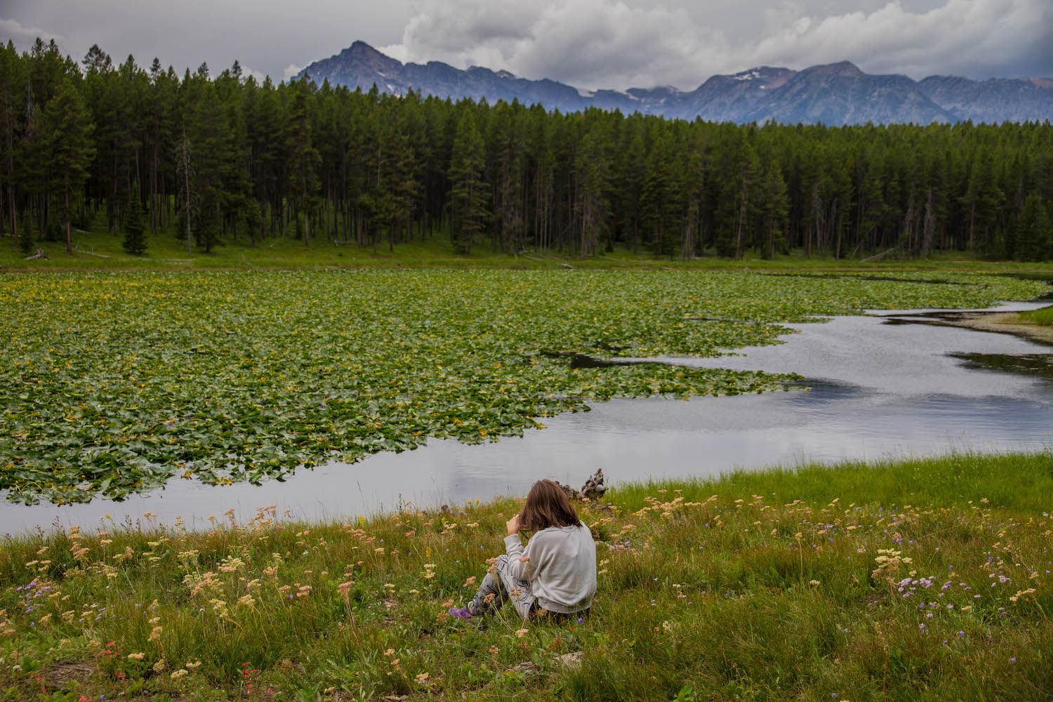 We sat in the tall grass and wildflowers to soak in the beauty of the pond and mountains around us.