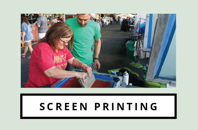 We offer hand-pulled screen printing for custom orders on fabric items such as t-shirts, sweatshirts, aprons, tea towels, cloth napkins, tote bags, koozies and more.  We also screen print paper goods, including posters, invitations, business cards, greeting cards, paper merchandise bags, and more.