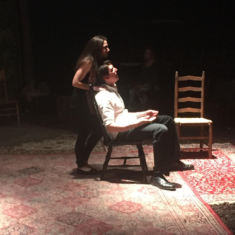 Aimee Goldstein and Bob Stineman improvise on the set of  Anna  at EgoPo
