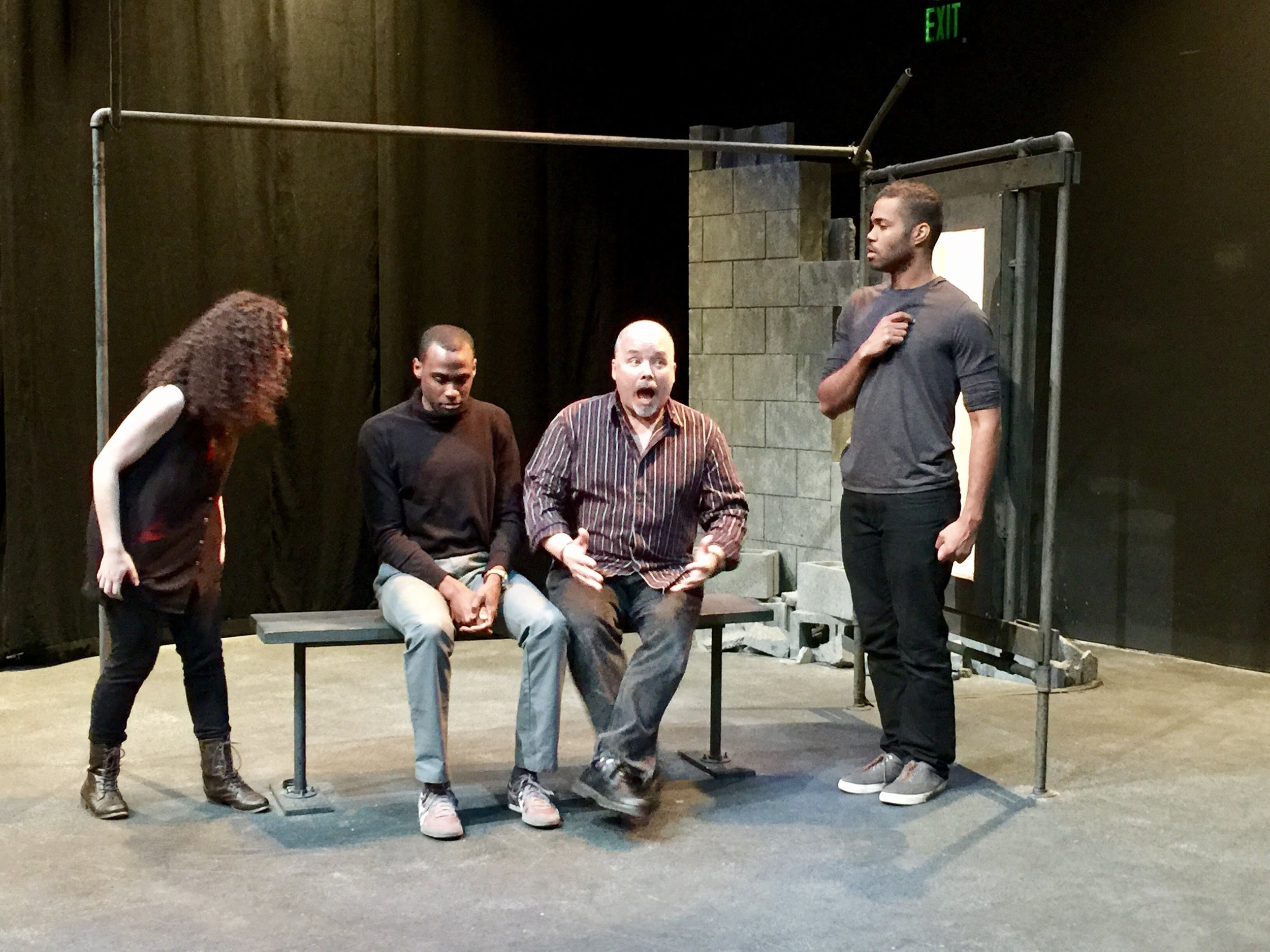 Aimee Goldstein, Gavin Whitt, Benjamin Lloyd and Dan Ison improvise on the set of  ironbound  at Simpatico Theater.
