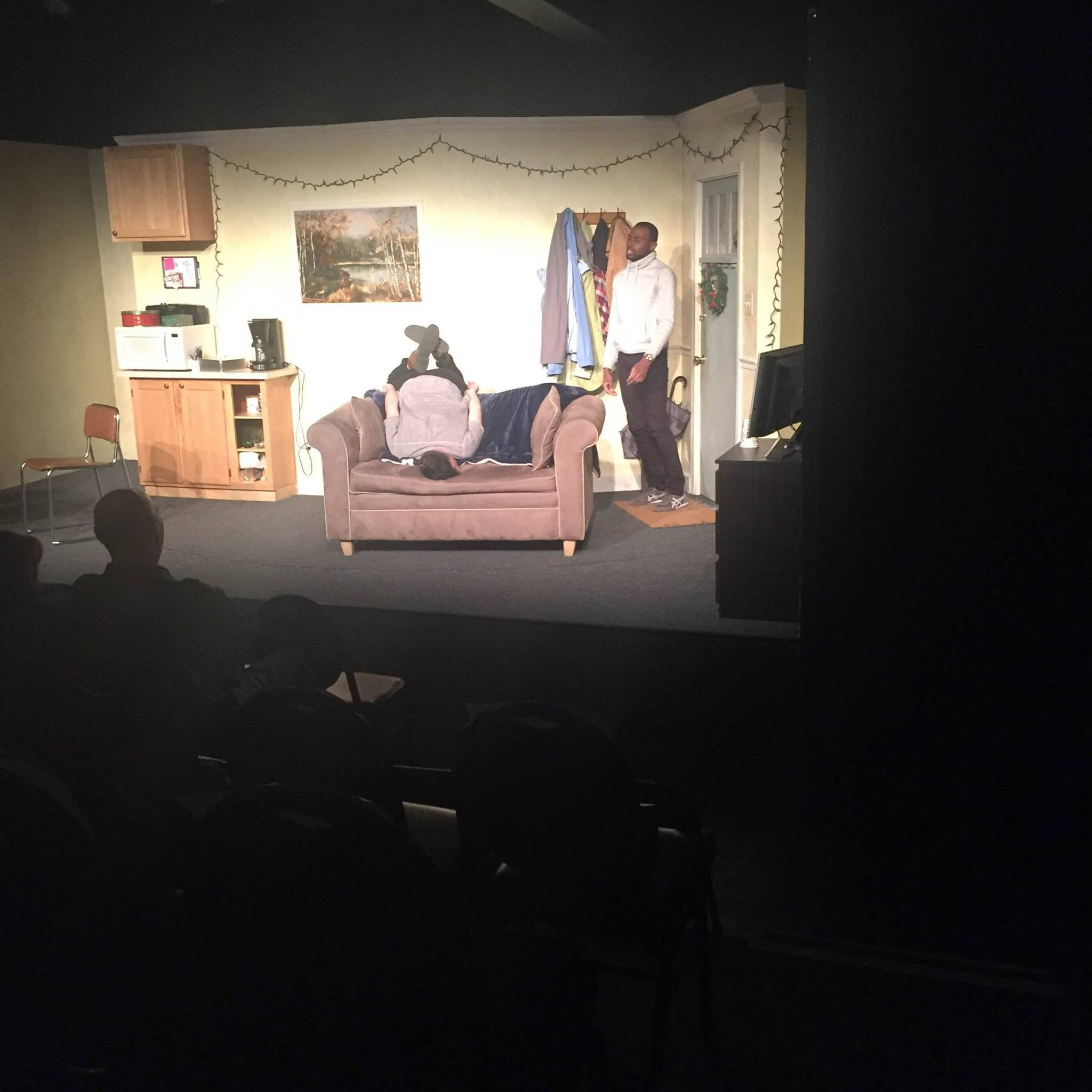 John Schultz and Gavin Whitt improvise on the set of  Lost Girls  at Theatre exile.