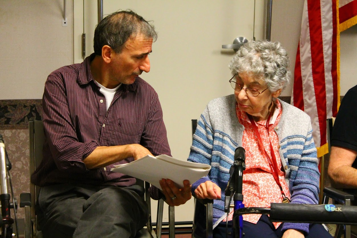 Director of Senior Programs Jerry Perna works with an actor at a White Pines senior theater residency.