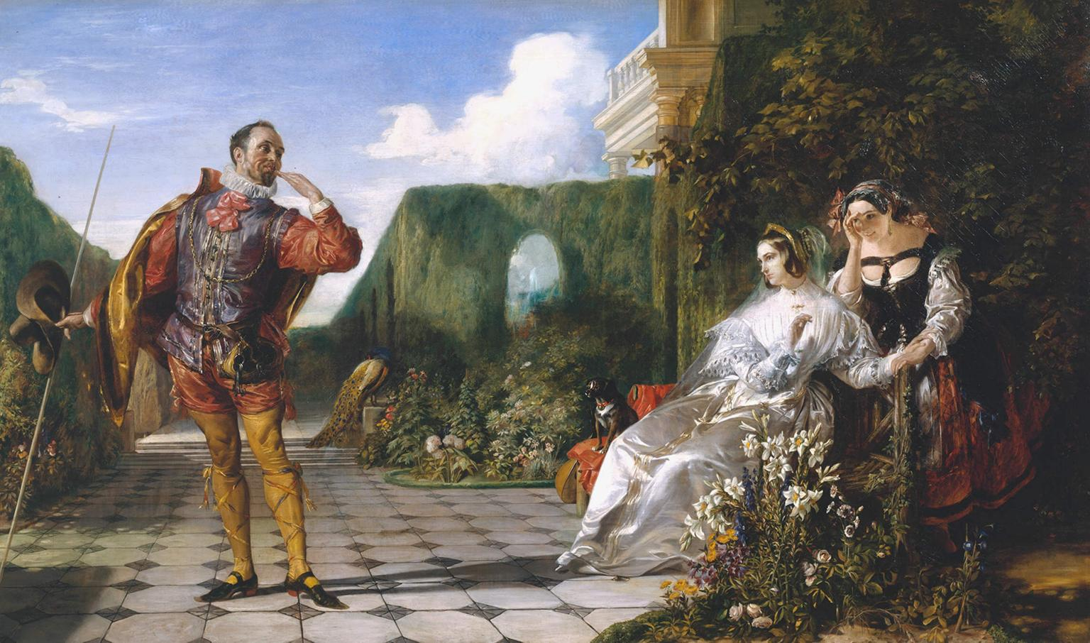 Malvolio with his cross-garters, in front of the lady Olivia, and her maid Maria.