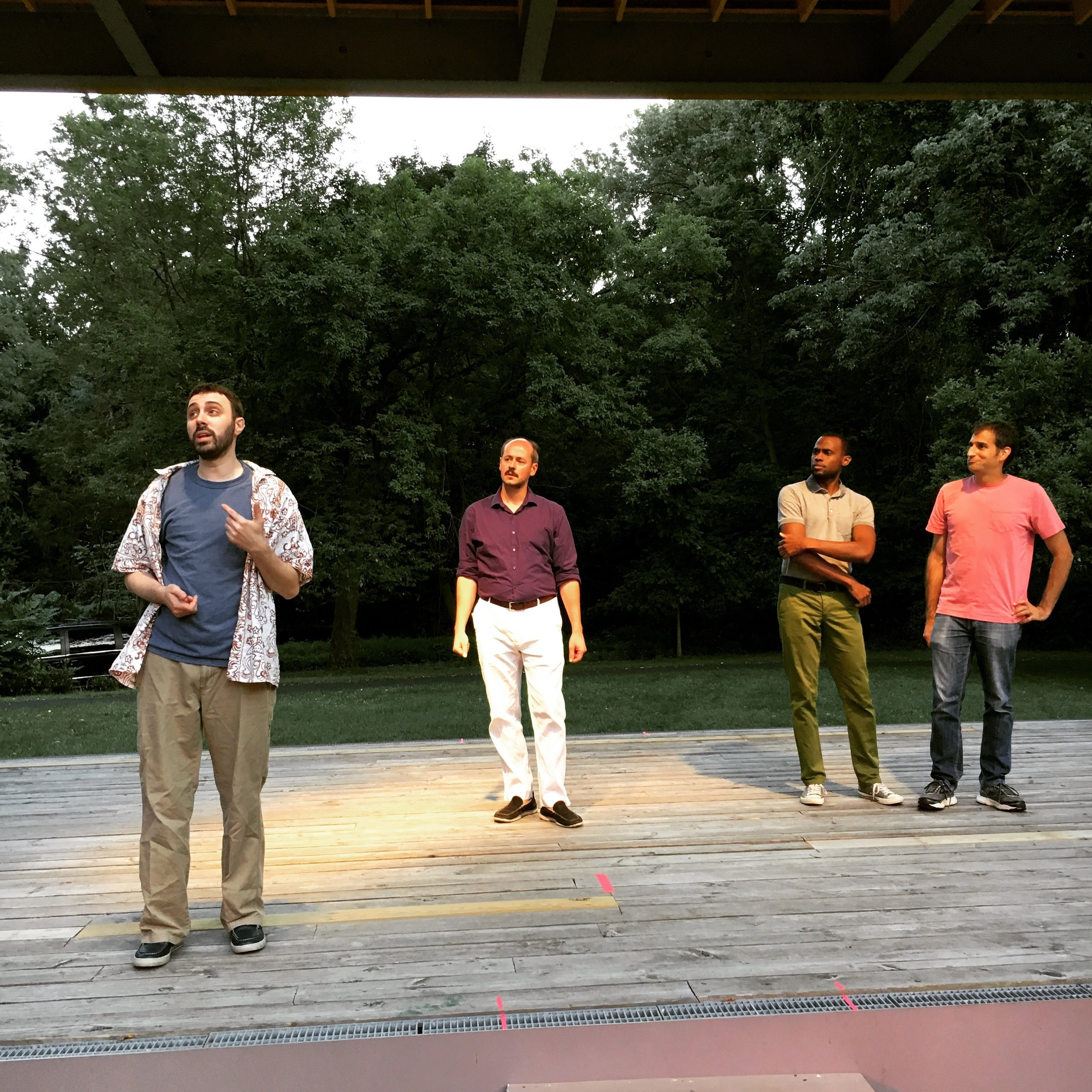 Adam Corbett, Bradley Moore, Gavin Whitt and Jeffery Barg as the Lords of Love's Labor's Lost last summer.