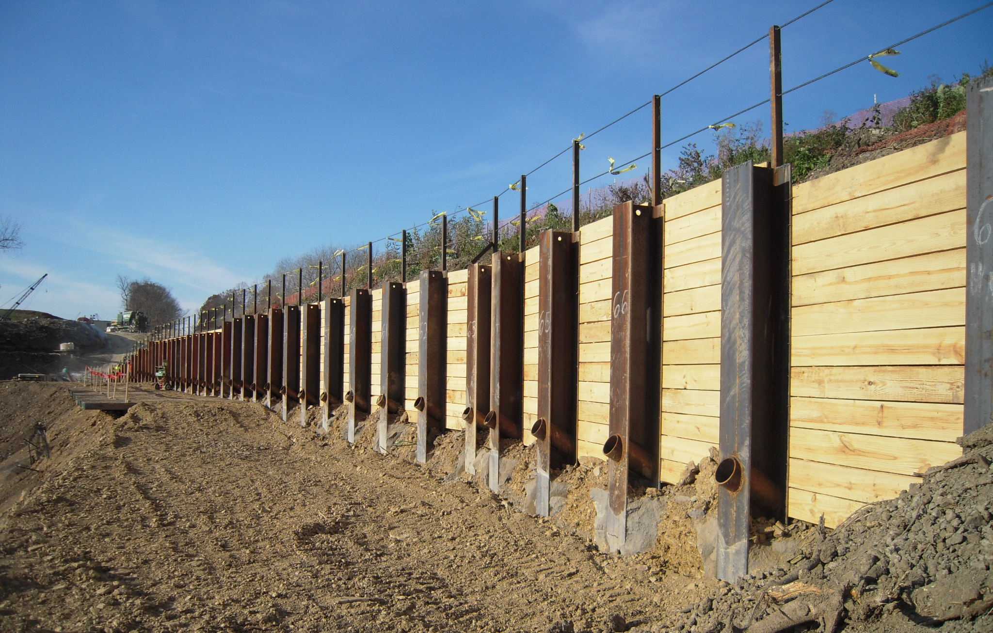 Tieback Anchored Retaining Wall with MSE Panel Retaining Wall